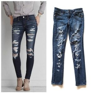 American Eagle Destroyed Distressed Skinny Jeans 6